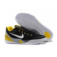 "Nike Kobe 9 EM ""Away"" Black-Yellow/Elephant Print Grey For Sale Lastest"