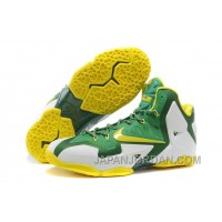"Nike LeBron 11 ""Oregon Ducks"" PE White-Pine Green/Tour Yellow For Sale Free Shipping"