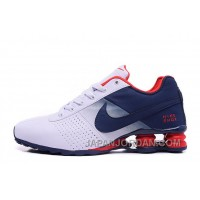 NIKE SHOX DELIVER 809 WOMEN BIGGER SIZE WHITE NAVY For Sale