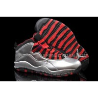 ホット販売 Nike Air Jordan 10 Mens Silver Red Black Shoes