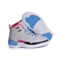 Nike Air Jordan 12 Kids Grey Blue White Black Shoes 格安特別