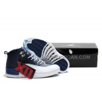 Nike Air Jordan 12 Mens Deep Blue White Shoes 割引販売