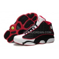 ホット販売 Nike Air Jordan 13 Mens Leather Black White Red Shoes