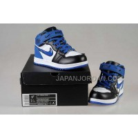 Nike Air Jordan 1 Kids White Black Blue Shoes 格安特別