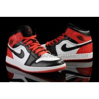 本物の Nike Air Jordan 1 Mens Air Cushion White Red Black Shoes
