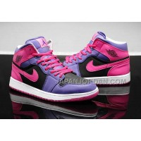 割引販売 Nike Air Jordan 1 Womens 2014 Purple Pink Black Shoes