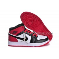 割引販売 Nike Air Jordan 1 Womens Microfiber Red White Black Shoes