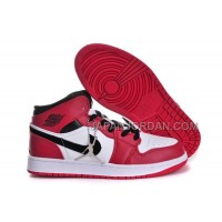 割引販売 Nike Air Jordan 1 Womens Microfiber White Black Red Shoes