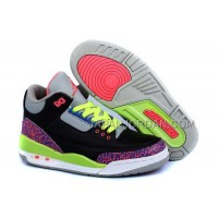 Nike Air Jordan 3 Kids 2014 Black Grey Pink Green Shoes 格安特別
