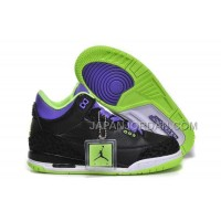 Nike Air Jordan 3 Kids 2014 Black Purple Green Shoes 格安特別