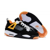 本物の Nike Air Jordan 4 Kids Black White Orange Shoes