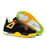 本物の Nike Air Jordan 4 Kids Black Yellow Green Shoes