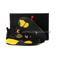 本物の Nike Air Jordan 4 Kids Black Yellow Shoes