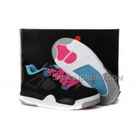 本物の Nike Air Jordan 4 Kids Dynamic Blue White Black Pink Shoes