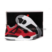 本物の Nike Air Jordan 4 Kids Fire Red White Black Grey Shoes