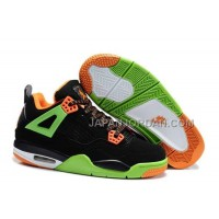 本物の Nike Air Jordan 4 Kids Orange Green Black Shoes