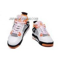 本物の Nike Air Jordan 4 Kids Orange White Black Shoes