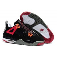 本物の Nike Air Jordan 4 Kids Red Black Grey Shoes