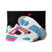 本物の Nike Air Jordan 4 Kids White Pink Blue Shoes