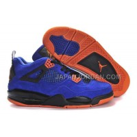 格安特別 Nike Air Jordan 4 Mens Anti Fur Blue Black Orange Shoes