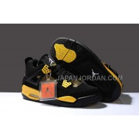 格安特別 Nike Air Jordan 4 Mens BlackYellow Shoes