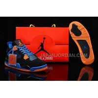 格安特別 Nike Air Jordan 4 Mens Retro Black Blue Orange Shoes