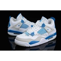 格安特別 Nike Air Jordan 4 Mens Retro White Gray Blue Shoes