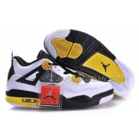 格安特別 Nike Air Jordan 4 Mens White Black Yellow Shoes