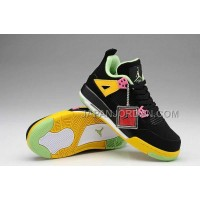 格安特別 Nike Air Jordan 4 Womens Black Yellow Shoes
