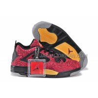格安特別 Nike Air Jordan 4 Womens Burst Crack Limited Edition Red Black Yellow Shoes