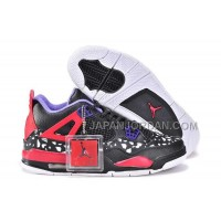 格安特別 Nike Air Jordan 4 Womens Dog Pattern Limited Edition Black Red White Shoes
