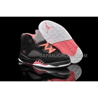 本物の Nike Air Jordan 5 Kids Black Alarming Red Shoes