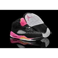 本物の Nike Air Jordan 5 Kids Black Bright Citrus Fusion Pink Shoes