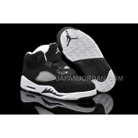 本物の Nike Air Jordan 5 Kids Black Grey White Shoes