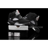 本物の Nike Air Jordan 5 Kids Black Metallic Silver Shoes