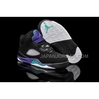 本物の Nike Air Jordan 5 Kids Black New Emerald Grape Ice Shoes