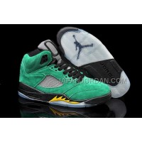 格安特別 Nike Air Jordan 5 Mens All Green Black Yellow Shoes