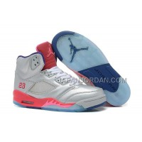 格安特別 Nike Air Jordan 5 Womens V Silver Pink Shoes