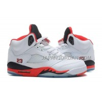 格安特別 Nike Air Jordan 5 Womens White Fire Red Black Shoes