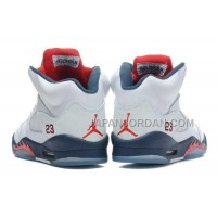 格安特別 Nike Air Jordan 5 Womens White Varsity Red Mid Navy Shoes