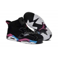 本物の Nike Air Jordan 6 Kids Black Pink Blue Shoes
