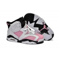 本物の Nike Air Jordan 6 Kids White Black Pink Shoes
