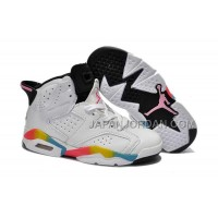 本物の Nike Air Jordan 6 Kids White Pink Black Shoes
