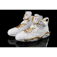 割引販売 Nike Air Jordan 6 Mens Retro DMP White Gold Shoes