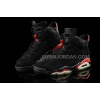 割引販売 Nike Air Jordan 6 Mens Retro Mesh Black Red Shoes