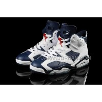 割引販売 Nike Air Jordan 6 Mens Retro White Dark Blue Shoes
