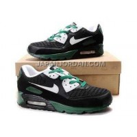 新着 Nike Air Max 90 Mens Black White Green