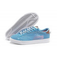 ホット販売 Nike Blazer 2013 Breathable Mesh Low Womens Blue Shoes