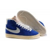 本物の Nike Blazer High Anti-Fur Mens Blue White Shoes
