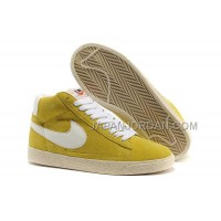 本物の Nike Blazer High Anti-Fur Mens Bright Yellow White Shoes